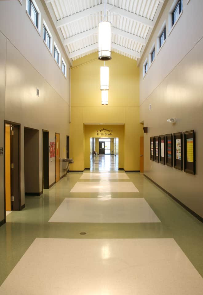 Hallway connecting the 3rd and 4th grade elementary building to the 5th grade addition at Southern Boone County R-1 Schools in Ashland, Missouri.
