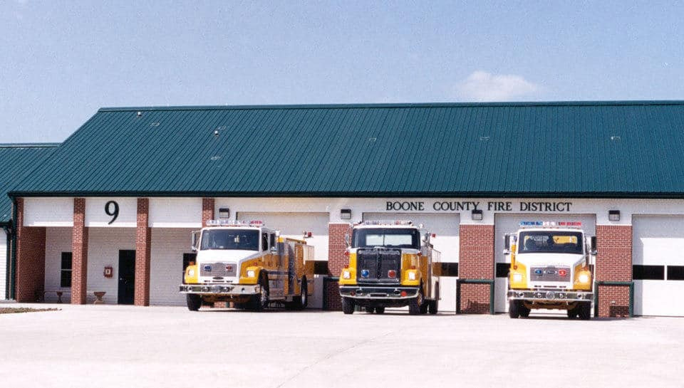 Midway Fire Station 9 represents the full build out of the modular station concept that was developed by PWA for the Boone County Fire Protection District.