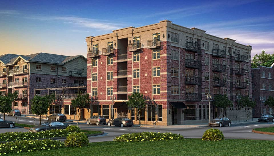 Brookside Downtown Tenth and Elm South Apartment Complex includes 4 stories of residential space above a 1st floor commercial space.